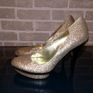 Carlos Gold Glitter platform Shoes Sz 8